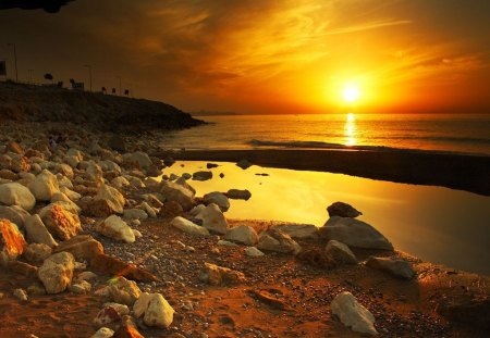 Meditation - rocks, sunset, sea, meditation