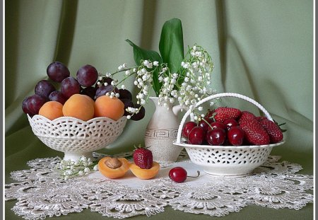 Fruits on a pretty table - health, food, fruit, grape, eat