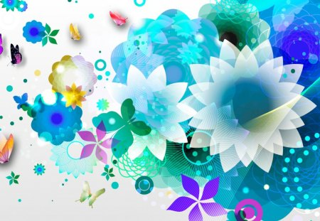 Blue Flower Abstraction - colorful, color, blue, dots, summer, abstract, turquoise, bright, cyan, cool, floral, butterflies, aqua, blossoms, circles