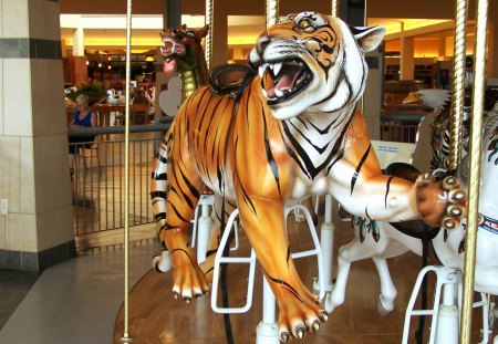 Carousel -- Orange Tiger - architecture, lakeside shopping mall, stairs, michigan, orange and white tigers, merry go rounds, american bald eagle, hare, zebra, carouse1, sterling heights, rabbit, golden, cat, horse, double decker, amusement park, bird, carousel, pony, kitten