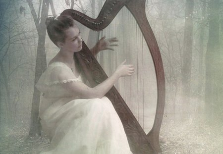 Forest Hymn - musical, harp, forest, fantasy, fairy, hymn
