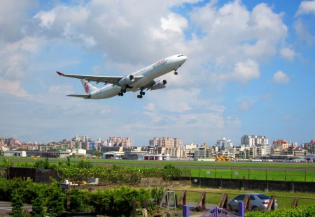 Aircraft was taking off - casual restaurant, airport, aircraft, taking off