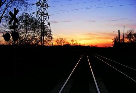 Sunset on The Rails - railroad, sunset, railroad tracks, railroad crossing, trees, sun