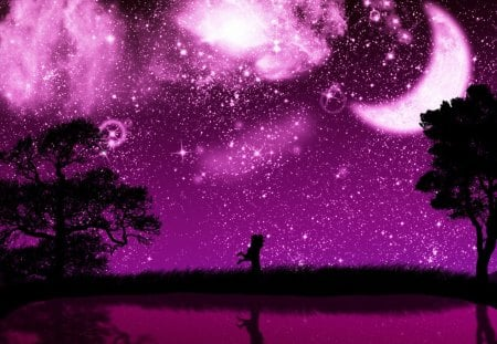 Pretty purple night   3D and CG & Abstract Background Wallpapers