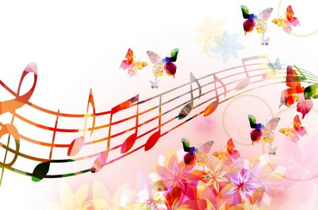 Melody of Butterfly Wings - song, colorful, flowers, spring, butterflies, sing, papillon, blossoms, music, abstract, musical notes, summer, blooms, nature, play, floral, musical, bubbles, instruments, bright