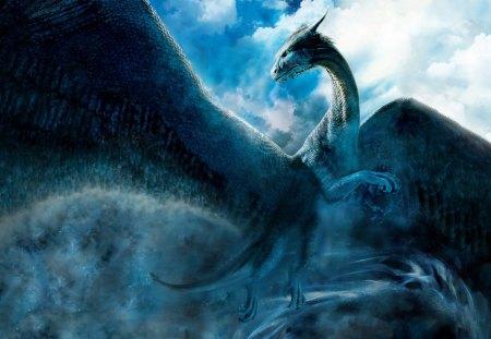 Blue Dragon - wings, tale, blue, horn, dragon