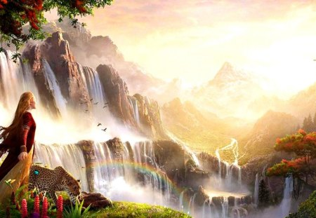 In the regions of rainbows - leopard, waterfalls, region, nature, amazing, beautiful, lovely, rainbow, animals, magical, girl, tige