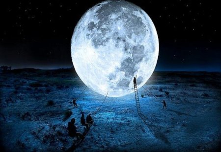 The Moon Under Construction - work, eye trickery, fantasy, photography, moon, magic