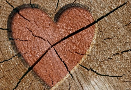 WOODEN HEART - hearts, valentine, wood, love, logs