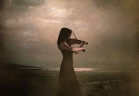 Sad Melody - fantasy, girl, melody, violin, sad