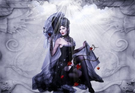 VANITY - gray, vanity, lace, steampunk, gothic, red black