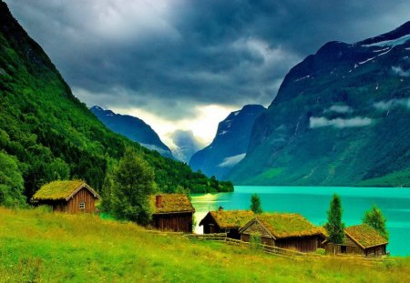 Mountain houses near river emerald peaceful lake slope meadow mountain calm cottages - Mountain cabin plans close to nature ...