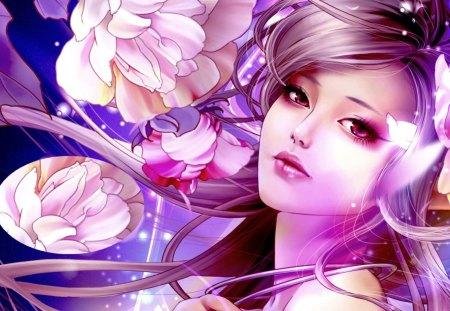 BEAUTY - beauty, flowers, lovely, face, art