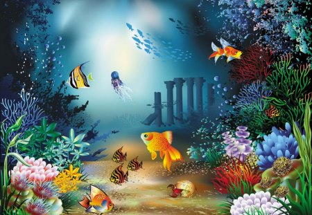 Under water - seabed, sea animals, light, ocean, painting, fish, cute, algae, waters, sea, children, world, corals, cartoon, sea plants, under water, kids