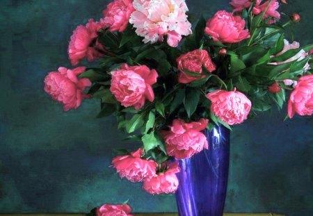 Peonies in blue - flowers, peonies, white, blue, pink, vase