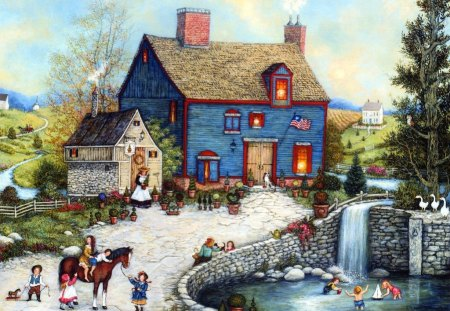 Americana Painting - Topiary Falls - folk art, art, scene, americana, early settlers, country, painting