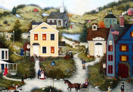 Americana Art - Old Dog Livery - americana, settlers, folk, town, colony, painting, art