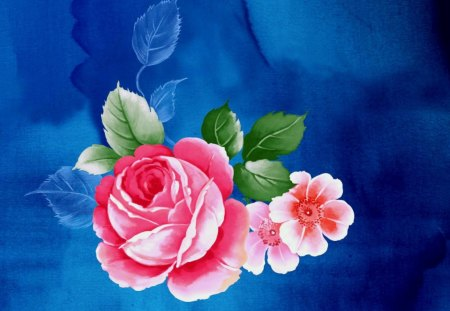 Rose art on blue - paint, art, red, rose
