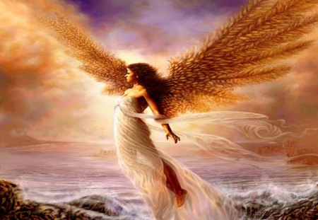 Angel On The Shore - fantasy, water, dawn, angel