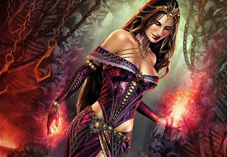 Woman - color, fantasy, woman, lights