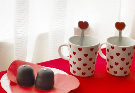 Love Tea - hearts, cup, red, tea