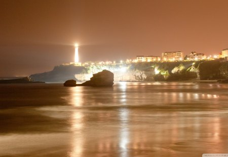 biarritz lighthouse in france - beach, lights, lighthouse, town