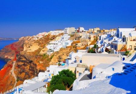 Oia Santorini Greece Houses Architecture Background