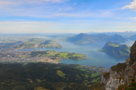 lake lucerne from mount pilatus switzerland