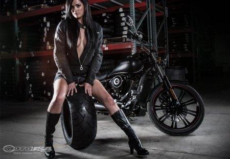 Tiffany & Bike - sexy, model, black, bike