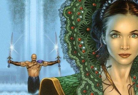 a bela e o guerreiro - garota, agua, guerreiro, fantasia