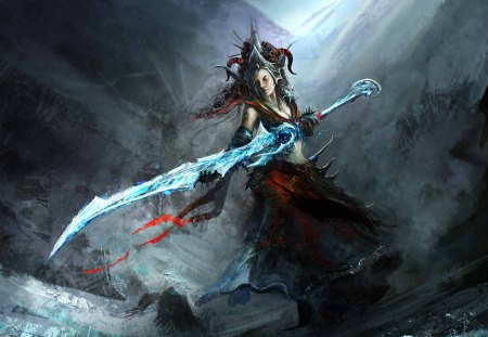 Sorceress - dark, fantasy, warrior, weapon
