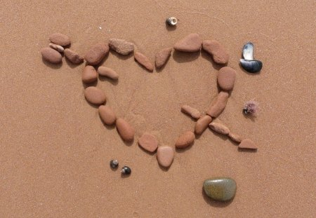 CROSS MY HEART - hearts, stones, sand, cupid, beach, arrow