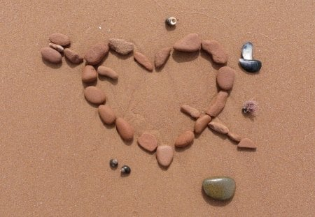 CROSS MY HEART - beach, sand, stones, cupid, hearts, arrow