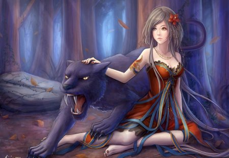 Beast Pet - forest, beast pet, female, panther, sexy, black panther, pet, flower hair, cool, girl, beast, hot, anime girl