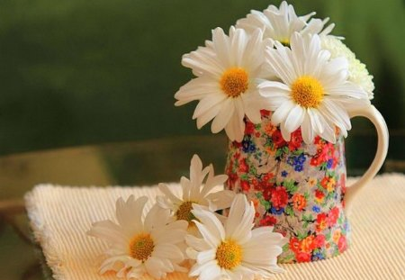 Cup of daisies for Pat - cup, yellow, flowers, daisies, white