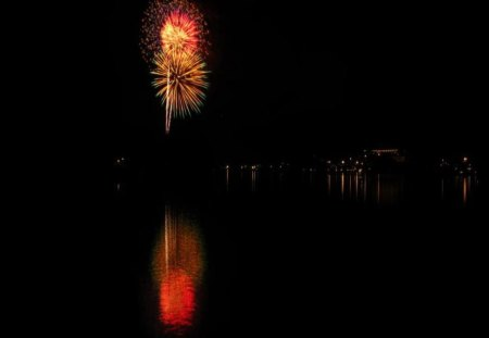 Fireworks Over Lake Placid NY - fireworks, lake, sky, other, nature