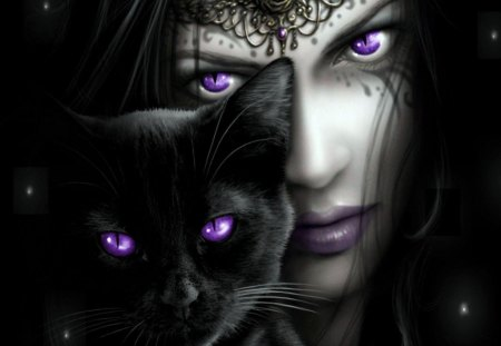 Girl with Lilacs Eyes - person, cat, girl, lilac, eyes
