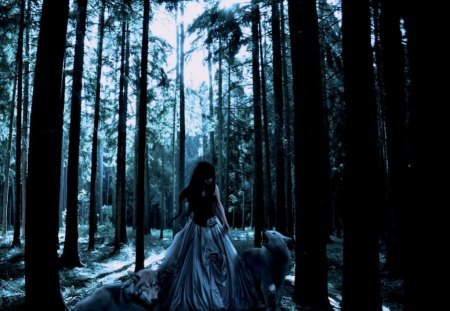 Girl with Wolves - forest, fantasy, girl, wolves, woods