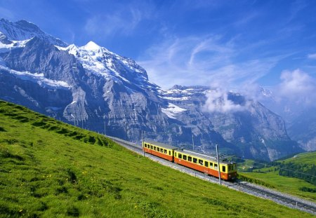 Railroad - mountain, railroad, train, high, green grass, road, alps
