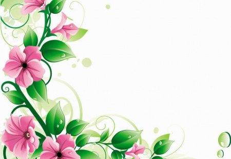 PINK FLOWER VINE - pink, boarder, vine, flower