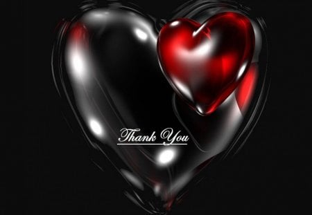 Thank you heart - black, red, thank you, heart