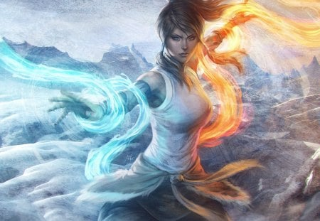Korra - vambraces, korra, ponytail, avatar the last airbender, element bending, hot, anime girl, long hair, blue eyes, female, brown hair, sexy, twin tails, fire, water, cool, stanley lau