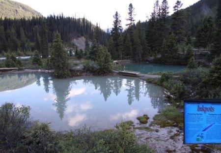 Lake at Johnston Canyon Banff - Lakes, mountains, green, trees, Photography
