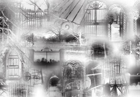 Gates of Goth - mysterious, dark, goth, baroque, gothic, black and white, bas-relief, limn, fantasy, sfumato, oeuvre, collalge, pastiche, rococo, gates