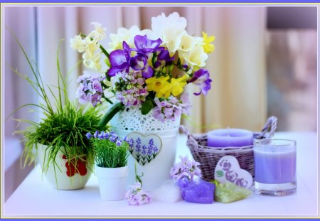Still life - lilac, grass, curtains, vase, lavender, hearts, candles, green, purple, ferns, wildflowers, summer, flowers, white