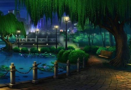 park at night - greenroofs, nature, scenic, trees
