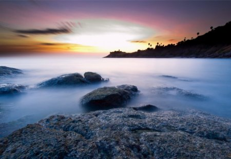 Thailand Sunset - rocks, ocean, evening, sunset, sky, thailand, mist