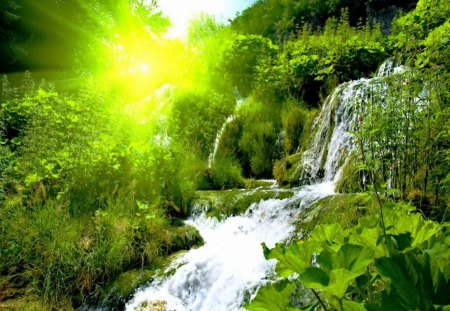 Forest waterfall at sunrise waterfalls nature - Waterfalls desktop wallpaper forest falls ...