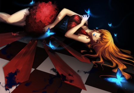 Udonnodu Girl - female, dress, sexy, lipstick, alone, cool, butterfly, checkered floor, hot, udonnodu girl, anime girl, long hair, orange hair, laying