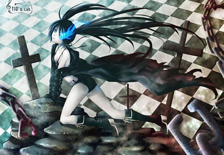 Black★Rock Shooter - chain, female, growing blue, sexy, twin tails, bikini, cool, checkered board, black rock shooter, hot, anime girl, cross, black hair